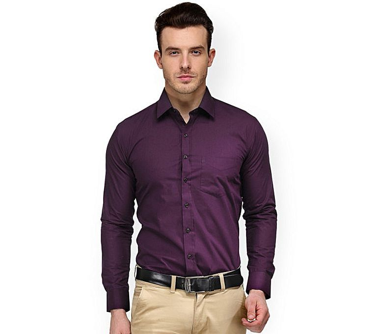 d0c87a973bd Men's Fashion :: Western Clothing :: Formal Shirts :: YNG Empire Men Purple  Regular Fit Solid Formal Shirt - Savers.pk - Everything you are looking for!