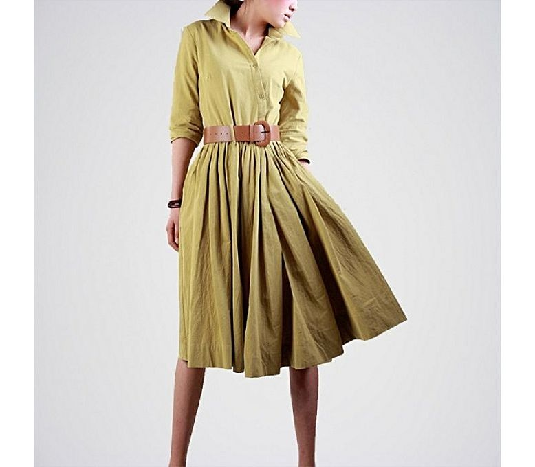 c3b16e02824 Women s Fashion    Western Clothing    Maxi Dresses    The Ajmery Green Linen  Dress for Women - Savers.pk - Everything you are looking for!