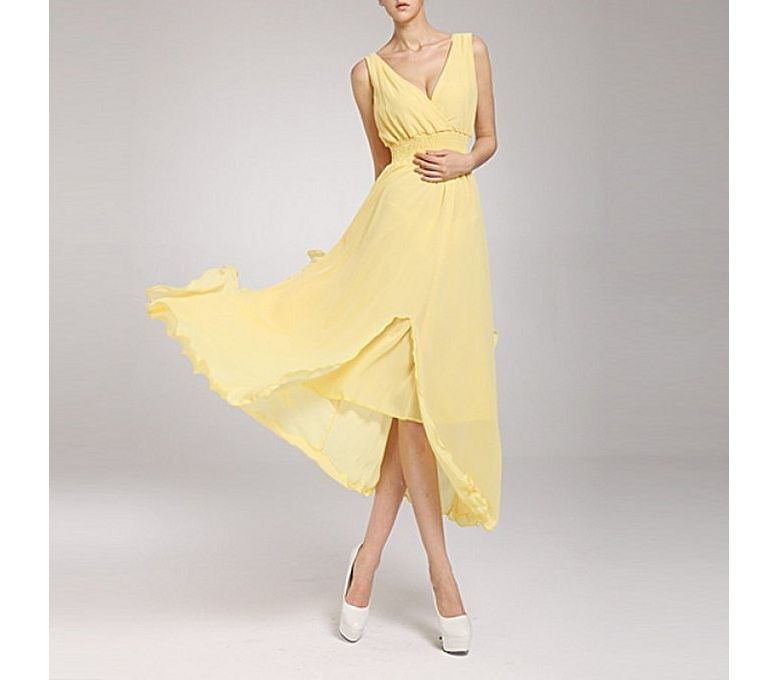 4c173a31abb Women s Fashion    Western Clothing    Maxi Dresses    The Ajmery Yellow  Chiffon Chic Ball Gown For Women - Savers.pk - Everything you are looking  for!
