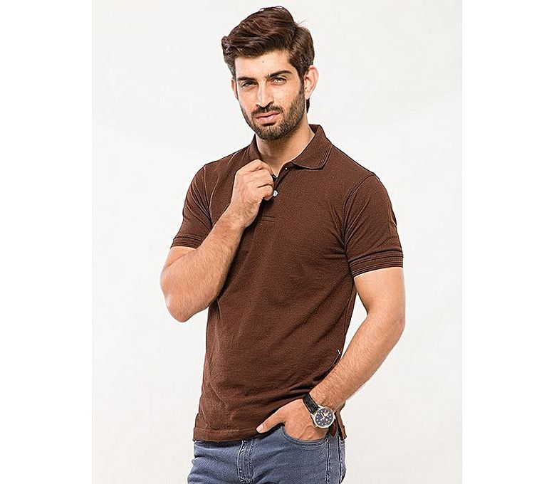 great quality 100% quality new list Fashion Zone Brown Cotton Polo Shirt for Men