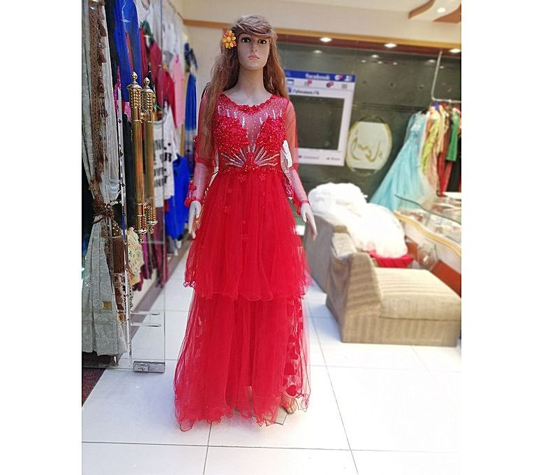 2a1f650a68d Women s Fashion    Western Clothing    Maxi Dresses    PehnawaPk Red Net Maxi  Dress For Women - Savers.pk - Everything you are looking for!