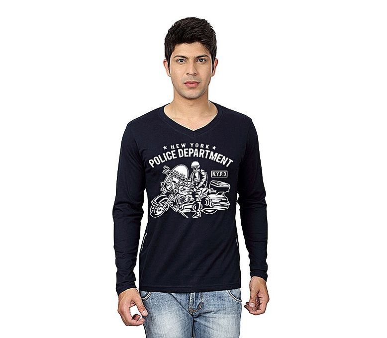 31a46c5c Men's Fashion :: Western Clothing :: T-Shirts :: Fashion Zone Navy Blue V  Neck Full Sleeves N.Y.P.D Printed T shirt - Savers.pk - Everything you are  looking ...