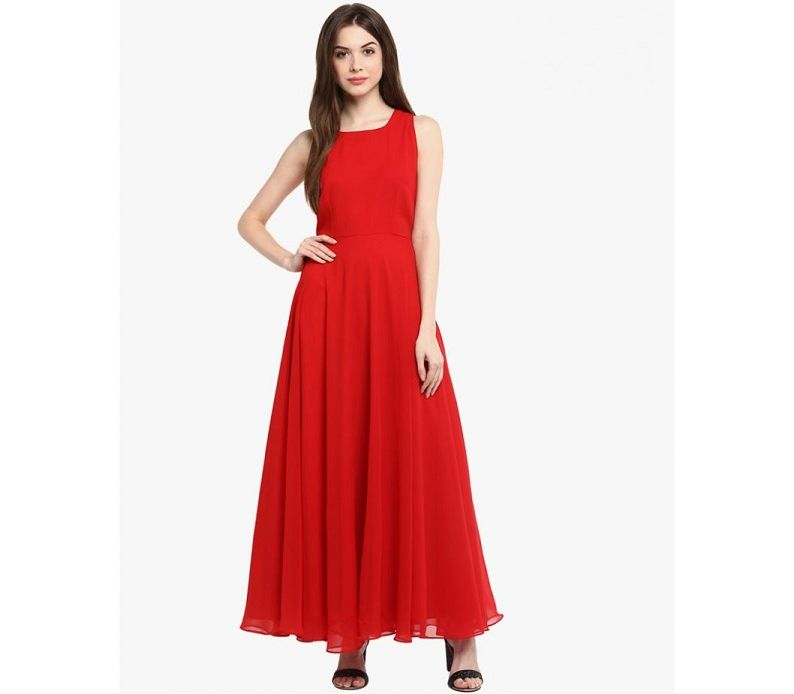 dc15b74363d Women s Fashion    Western Clothing    Skirts   Shorts    Women s Red Linen  Long Sleeveless Dress - Savers.pk - Everything you are looking for!